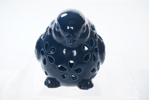 The Joy of Gardening Solar Small Ceramic Bird Perspective: front