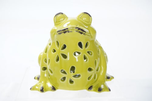 The Joy of Gardening Solar Ceramic Frog Perspective: front