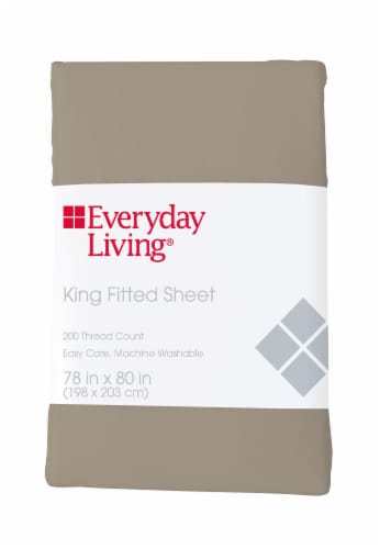 Everyday Living® 200 Thread Count Cotton/Polyester Fitted Sheet - Cobblestone Perspective: front