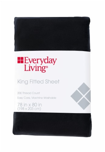 Everyday Living® Cotton/Polyester 200 Thread Count Fitted Sheet - Jet Black Perspective: front