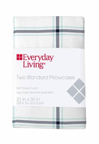 Everyday Living® Cotton/Polyester 200 Thread Count Pillow Cases - 2 Pack - Jasper Plaid Perspective: front