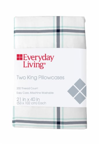Everyday Living® Cotton/Polyester 200 Thread Count Pillow Case - Jasper Plaid Perspective: front
