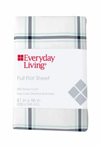 Everyday Living® Cotton/Polyester 200 Thread Count Flat Sheet - Jasper Plaid Perspective: front