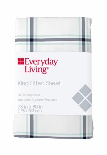 Everyday Living® Cotton/Polyester 200 Thread Count Fitted Sheet - Jasper Plaid Perspective: front