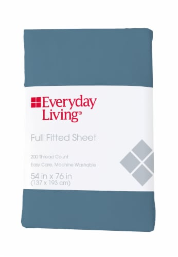 Everyday Living® Cotton/Polyester 200 Thread Count Fitted Sheet - Provincial Blue Perspective: front