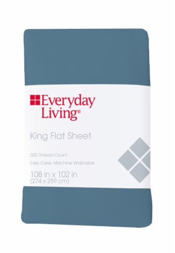 Everyday Living® 200 Thread Count Cotton/Polyester Flat Sheet - Provincial Blue Perspective: front
