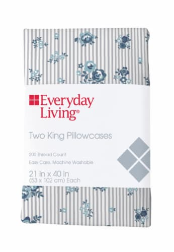 Everyday Living® 200 Thread Count Cotton/Polyester Pillowcase - 2 Pack - Peonies Pinstripe Perspective: front