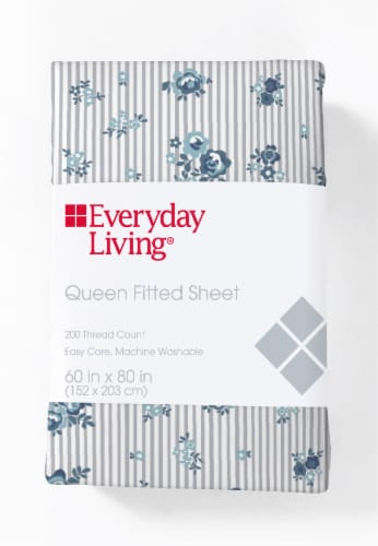 Everyday Living® 200 Thread Count Cotton/Polyester Fitted Sheet - Peonies Pinstripe Perspective: front