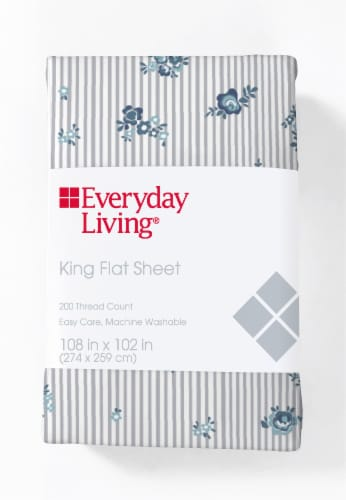 Everyday Living® 200 Thread Count Cotton/Polyester Flat Sheet - Peonies Pinstripe Perspective: front