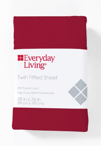 Everyday Living® 200 Thread Count Cotton/Polyester Fitted Sheet - Jester Red Perspective: front