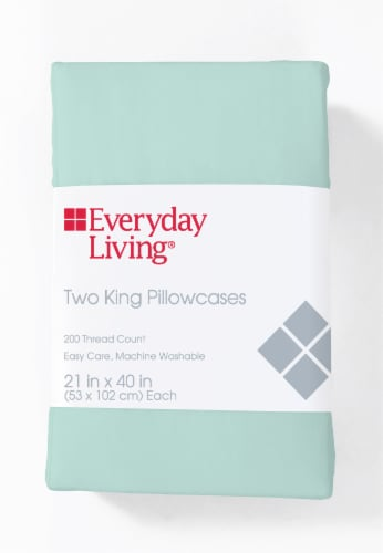 Everyday Living® Cotton/Polyester T200 Pillow Case - Bleached Aqua Perspective: front
