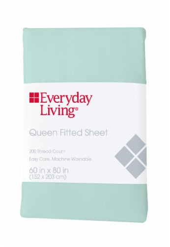 Everyday Living® 200 Thread Count Fitted Sheet - Bleached Aqua Perspective: front