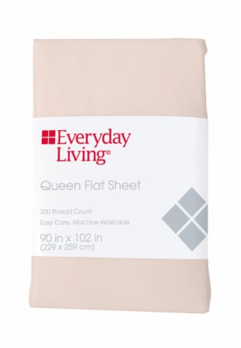 Everyday Living® 200 Thread Count Cotton/Polyester Flat Sheet - Pearl Perspective: front