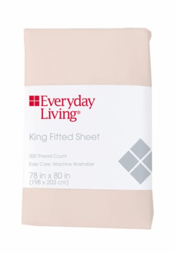 Everyday Living® 200 Thread Count Cotton/Polyester Fitted Sheet - Pearl Perspective: front