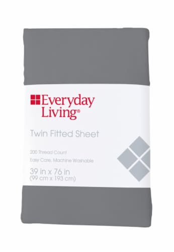 Everyday Living® 200 Thread Count Cotton/Polyester Fitted Sheet - Sharkskin Perspective: front