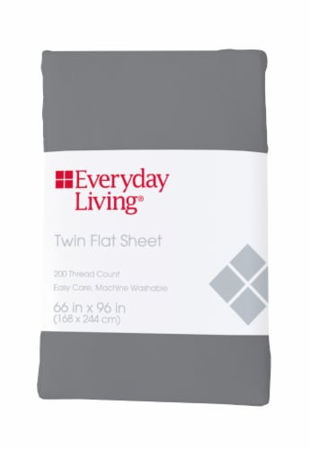 Everyday Living® 200 Thread Count Cotton/Polyester Flat Sheet - Sharkskin Perspective: front