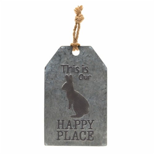 Holiday Home Happy Place Galvanized Tag Sign Perspective: front