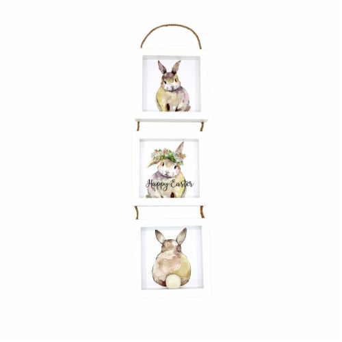Holiday Home 3 Hopping Easter Bunnies Sign Perspective: front
