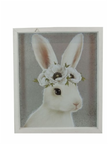 Holiday Home Flower Crown Bunny Sign Perspective: front