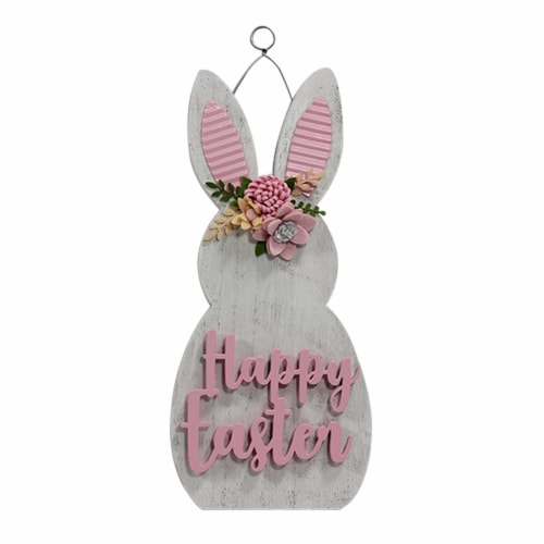 Holiday Home Happy Easter Bunny Sign - Pink Perspective: front
