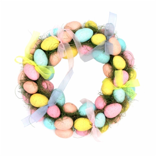 Holiday Home Eggs and Bows Wreath Perspective: front