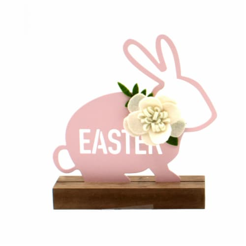 Holiday Home Iron and Wood Bunny - Pink Perspective: front