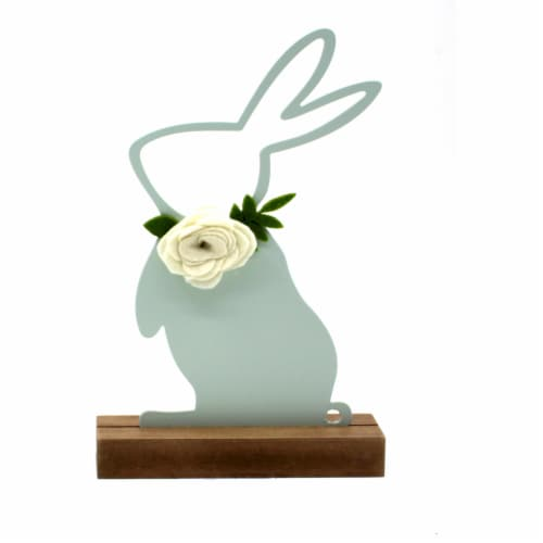 Holiday Home Iron and Wood Bunny - Green Perspective: front