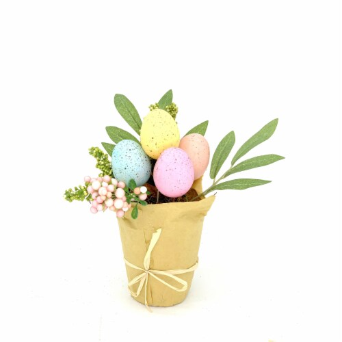 Holiday Home Eggs in Potted Greenery Decor Perspective: front