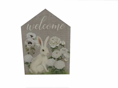 Holiday Home Bunny Welcome House Sign Perspective: front