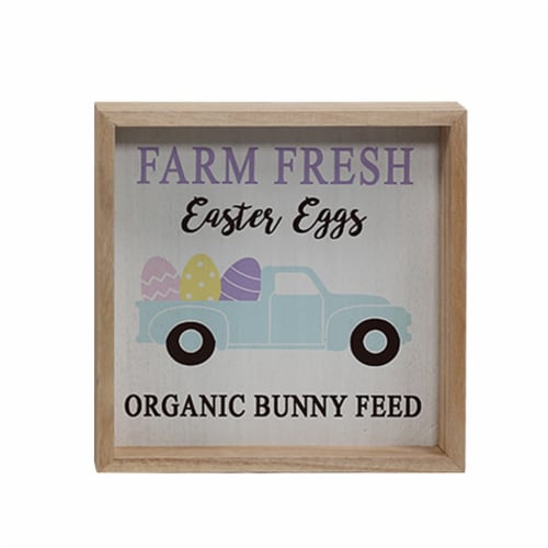 Holiday Home Farm Fresh Eggs Sign Perspective: front