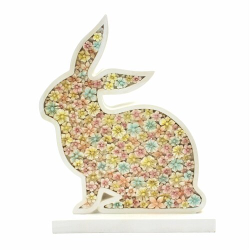 Holiday Home Floral Bunny on Stand Decor Perspective: front