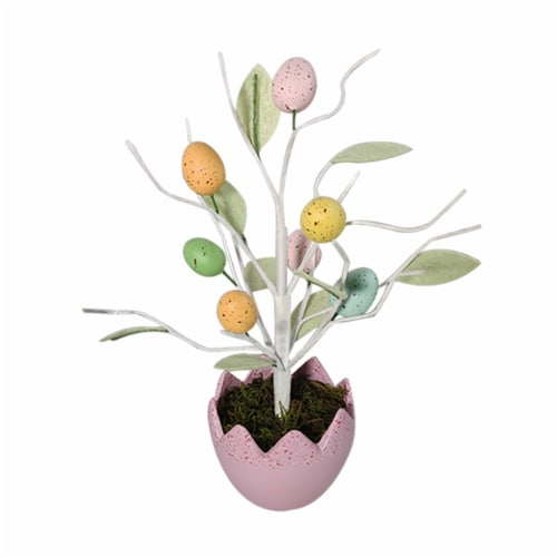 Holiday Home Egg Pot with Egg Tree - Pink Perspective: front