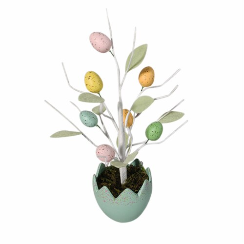 Holiday Home Egg Pot with Egg Tree - Teal Perspective: front