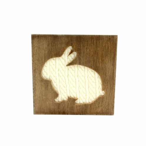 Holiday Home Cable Knit Bunny Cut Out Sign Perspective: front