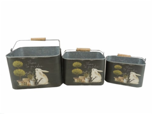 Holiday Home® Bunny Easter Tin Bucket Perspective: front