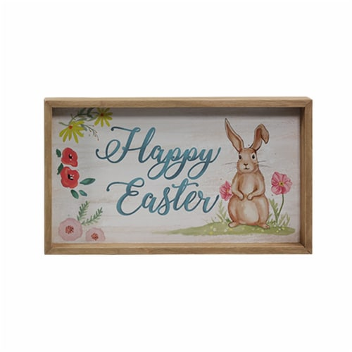 Holiday Home Happy Easter Sign with Wood Frame Perspective: front