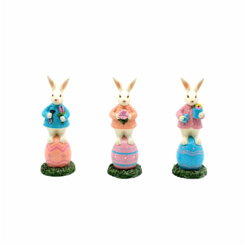 Holiday Home Bunnies Standing on Eggs Decor - Assorted Perspective: front