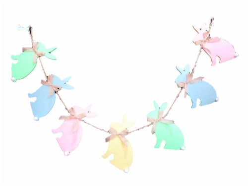 Holiday Home® Felt Bunny Garland Decor Perspective: front