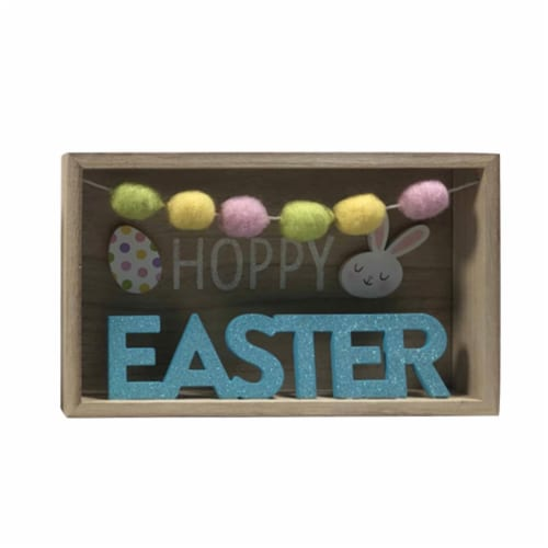 Holiday Home Pom Pom Hoppy Easter Sign Perspective: front