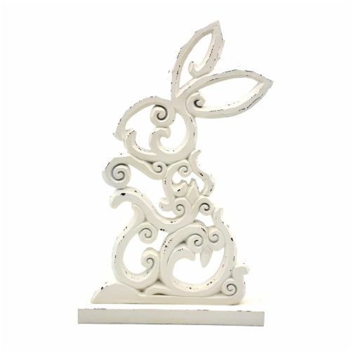 Holiday Home Die Cut Bunny - White Perspective: front