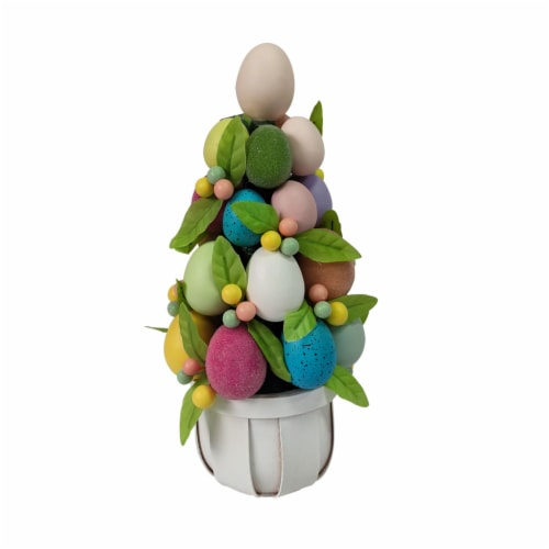 Holiday Home Easter Egg Tree in Pot Perspective: front