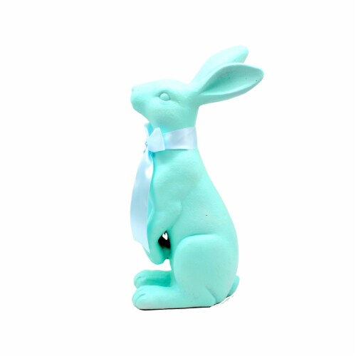 Holiday Home Easter Bunny with Ribbon Decor - Teal Perspective: front