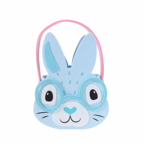 Holiday Home Felt Bunny Easter Bucket - Blue Perspective: front