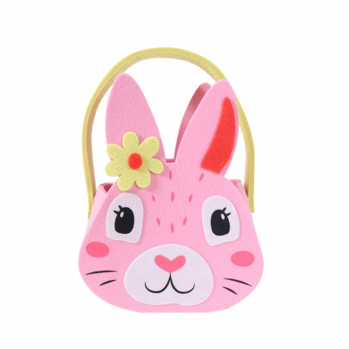 Holiday Home Felt Bunny Easter Bucket - Pink Perspective: front