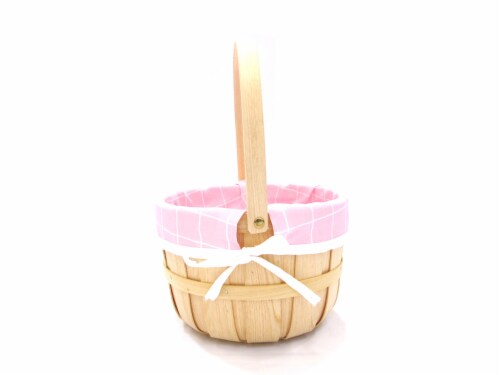 Holiday Home Basket with Liner - Natural/Pink Perspective: front