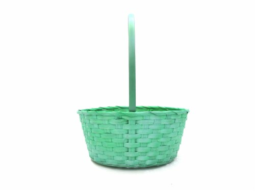 Holiday Home Bamboo Basket - Pearl Green Perspective: front