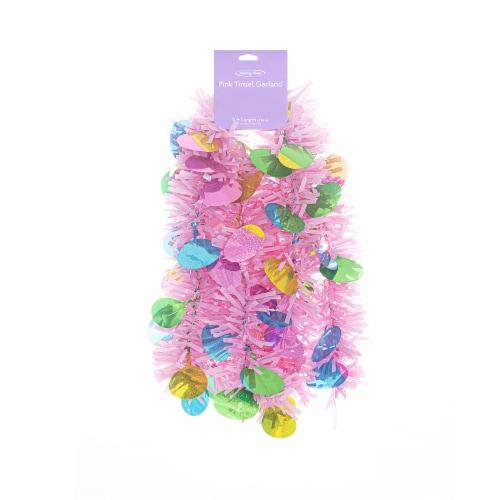 Holiday Home® Jumbo Tinsel Garland - Pink Perspective: front