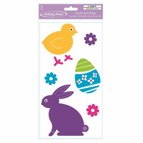 Holiday Home® Easter Chick & Bunny Gel Clings Perspective: front