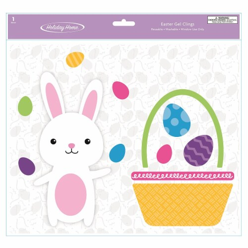 Holiday Home® Bunny & Basket Gel Cling Perspective: front