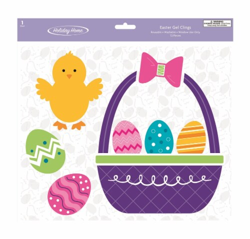 Holiday Home® Chick/Basket Gel Cling Perspective: front